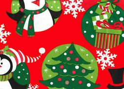 52x90 Tablecloth Vinyl Christmas Holiday Penguin Table Cover