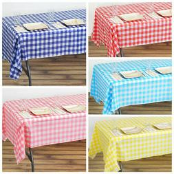 "54 x 108"" Checkered Disposable Plastic Rectangular Table Cov"