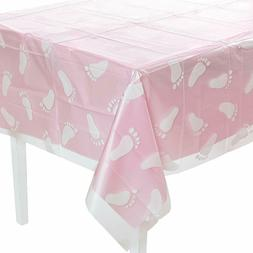 "54"" x 108"" Clear Baby Foot Print Plastic Tablecover for Baby"