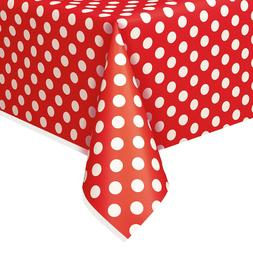 "54"" x 108"" Polka Dot Plastic Table Cover Tablecloths Birthda"