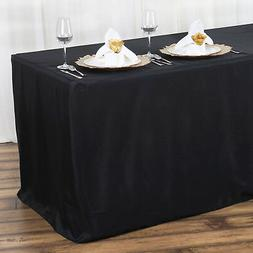 6 ft BLACK FITTED POLYESTER TABLE COVER Tablecloths for Wedd
