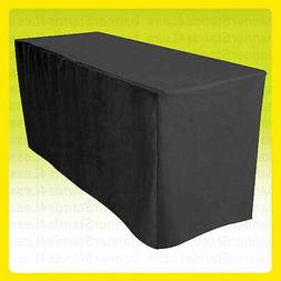 6' ft Fitted BLACK Tablecloth Table Cover Wedding Banquet Ev