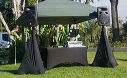 6 ft Black Rectangular Linen Tablecloth - Spandex Fitted Tab
