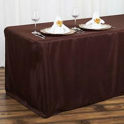6 ft CHOCOLATE Brown FITTED POLYESTER TABLE COVER Wedding Sh
