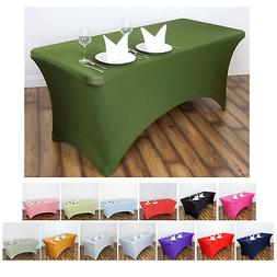 6 Ft Rectangular Spandex Table Cover For Wedding Party Banqu
