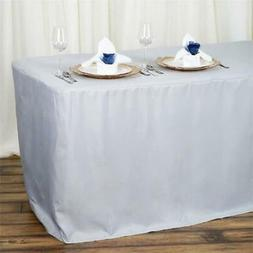 6 ft silver fitted polyester table cover