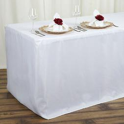 6 ft WHITE FITTED POLYESTER TABLE COVER Tablecloths Wedding