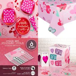 "6 Pack PINK Hearts Plastic Tablecloth Rectangle 54 X 108"" Di"
