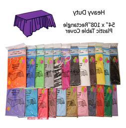 "6 pcs 54 x 108"" Disposable Plastic Rectangular Table Covers"