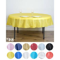 """10 pcs 84"""" Disposable Plastic Round Table Covers Tablecloths"""