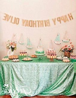 TRLYC 60 x 120-Inch Rectangular Sequin Tablecloth Mint