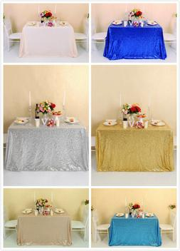 """60""""x120"""" Sequin Tablecloth Glitter Party Wedding Banquets Re"""