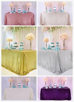 60''x120'' Sparkly Sequin Tablecloth Wedding Party Table Cov