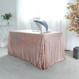 GFCC 60x120 inch Rose Gold Sequin Tablecloth Christmas Sarkl