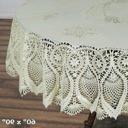 "60x90"" Crochet Lace Vinyl Tablecloth Wedding Table Linens Co"