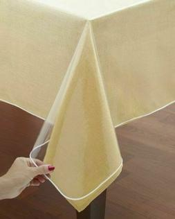 60x90'' Oblong Clear Plastic Tablecloth Protector Table Cove