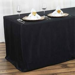 6FT Fitted BLACK Polyester Table Cover Commercial Grade Wedd