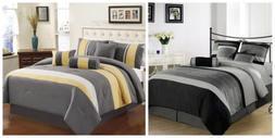 7-Piece 3-tone Embroidery Striped Comforter Set, Black, Gray