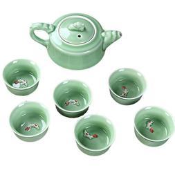 7 Piece Chinese Tea Set Traditional Kung Fu Porcelain Tea Po
