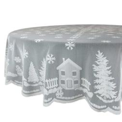 """70""""Christmas Kitchen Table Cover Holiday Snow Village Lace R"""
