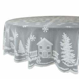 "70""Christmas Kitchen Table Cover Holiday Snow Village Lace R"