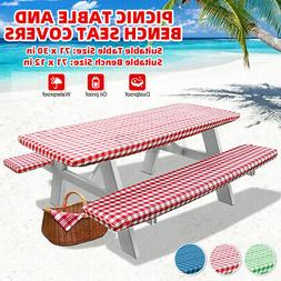 71 Inch BBQ  Picnic Table and Bench Seat Covers With Elastic