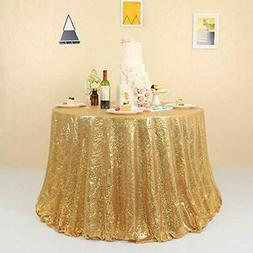 """72"""" Gold Sequin Tablecloth Round Sparkly for Party Glitter C"""