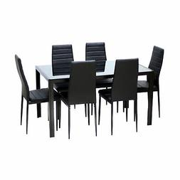7pcs Dining Table Set Kitchen Furniture Rectangle Table with