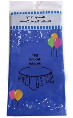 """84"""" Black Round Plastic Table Cover, Heavy duty Table Cloth"""