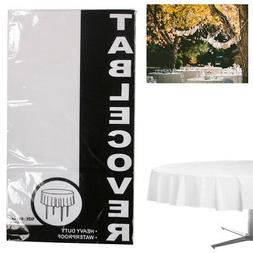 """84"""" Heavy Duty Plastic Table Cover Waterproof Round Tableclo"""
