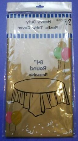 """84"""" Round Disposable Heavy Duty Plastic Table Cover Cloth Pi"""