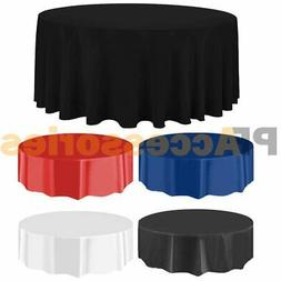 """84"""" Round Tablecloth Plastic Banquet Party Table Cover Vinyl"""