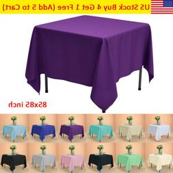 """85x85"""" Square Tablecloth Polyester Table Cover for Wedding P"""