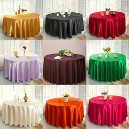 "90"" Round Satin Tablecloth Wedding Table Covers for Banquet"