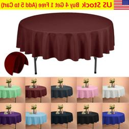 "VEEYOO 90"" Round Tablecloth Linen Table Cover for Weddings P"