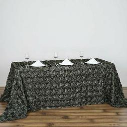 """90""""x132"""" Wholesale Rectangle Table Cover GREY Rosette 3D Sat"""