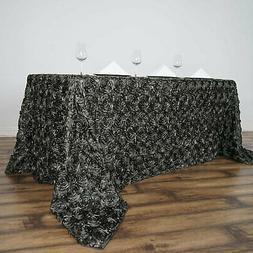 """90""""x156"""" Wholesale Rectangle Table Cover GREY Rosette 3D Sat"""