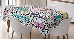 Ambesonne 90s Tablecloth, Geometric Pattern in Retro Style w