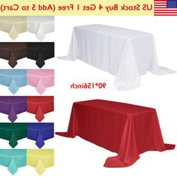 """90x156"""" Rectangle Tablecloth Poly Table Cover for Wedding Pa"""