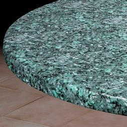 Blue Granite Round Elasticized Vinyl Table Cover Dining Kitc