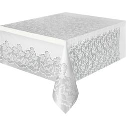 "Classic Plastic White Lace Table Cover, 108"" x 54"", Brand N"