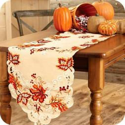 Embroidered Maple Leaves Table Runner Handmade Table Cover F