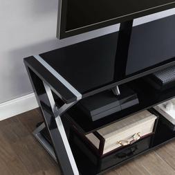 Flat TV Stand Three Display Options Glass Shelves Storage Ti