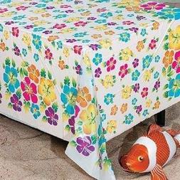 Hibiscus Print Plastic Tablecloth