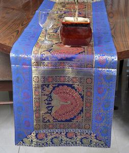 Indian Silk Table Cover Brocade Blue Peacock Modern Luxury T