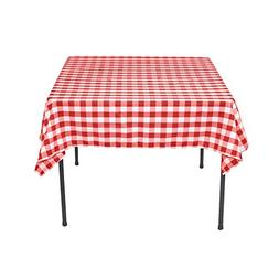 LinenTablecloth 54-Inch Square Polyester Tablecloth Red & Wh