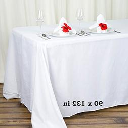 90 x 132 in. Rectangular Polyester Tablecloth White