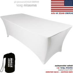 NEW! PRO DJ Table Scrim, 4' WHITE Stretch Spandex Cover w/ C