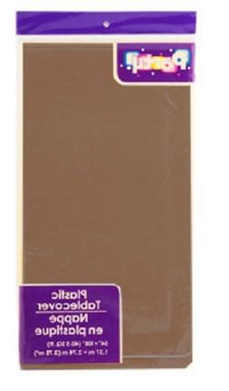 PACK OF 4: Disposable DARK BROWN / CHOCOLATE Plastic Tablecl