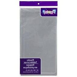 PACK OF 4: Disposable SILVER GRAY Plastic Tablecloths / Tabl